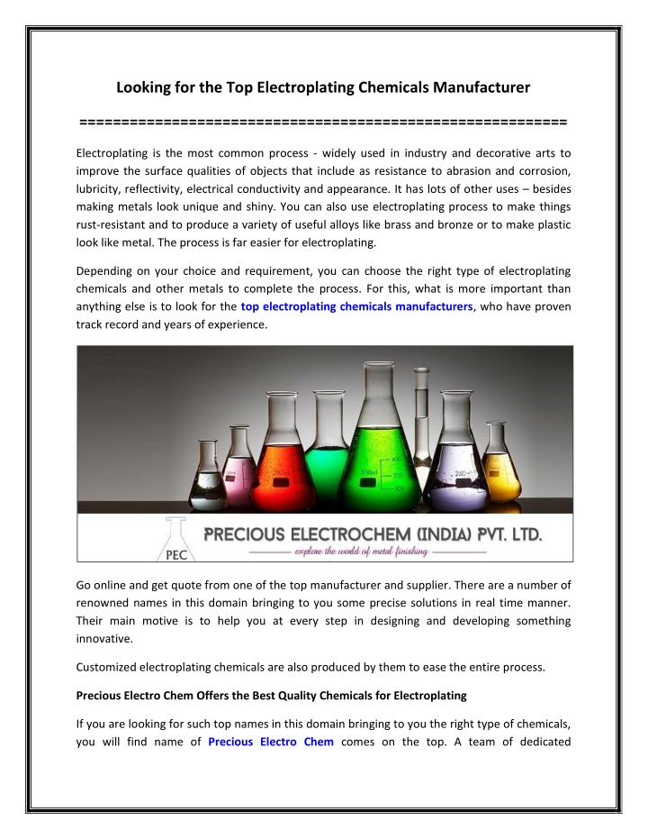 PPT - Looking for the Top Electroplating Chemicals Manufacturer PowerPoint Presentation - ID:10253813