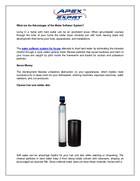What are the Advantages of the Water Softener System | edocr