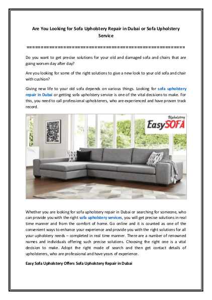 Are You Looking for Sofa Upholstery Repair in Dubai or Sofa Upholstery Service   edocr