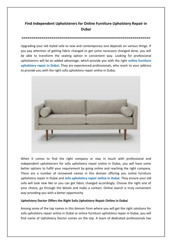 PPT - Find Independent Upholsterers for Online Furniture Upholstery Repair in Dubai PowerPoint Presentation - ID:10523449