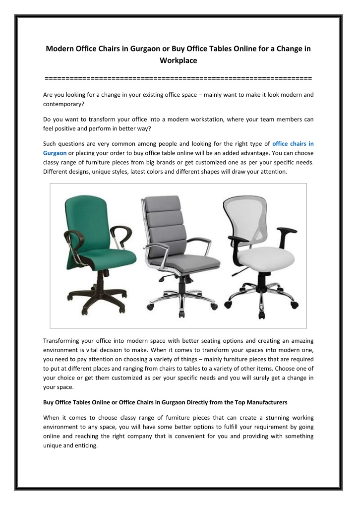 PPT - Modern Office Chairs in Gurgaon or Buy Office Tables Online for a Change in Workplace PowerPoint Presentation - ID:10515108