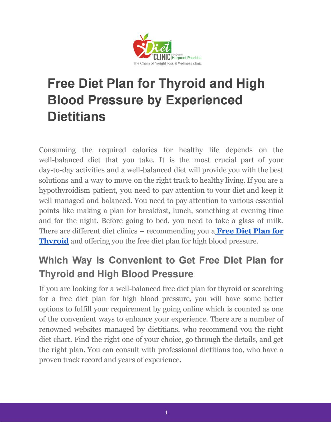 Free Diet Plan for Thyroid and High Blood Pressure by Experienced Dietitians